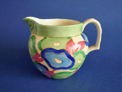 Lovely Clarice Cliff Bizarre 'Blue Chintz' Perth Jug c1932 (Sold)